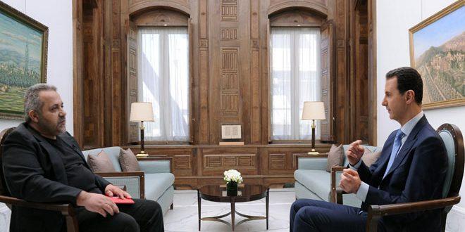 """الرئيس الاسد مع صحفي """"فيسرنجي لست"""" الكرواتية"""
